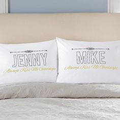 Our fun pillowcases serve as a gentle reminder to share a smooch before drifting off.