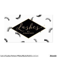 Lots of Lashes Pattern Business Card for Lash Salons. Double-sided design, instant personalization.