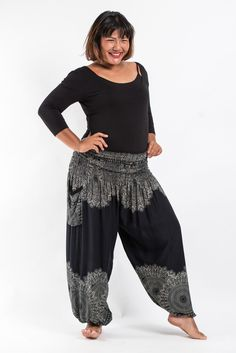 Plus Size Floral Mandalas Women's Harem Pants in Black