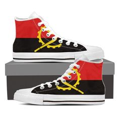 Represent Angola! with these Canvas Shoes Full canvas double sided print with rounded toe construction Lace-up closure for a snug fit. Soft textile lining with