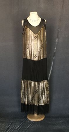 1920s lame and mesh dress