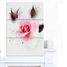 Designart 'Watercolor Rose with Buds' Extra Floral Canvas Art