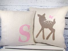 Child's deer & butterfly monogram burlap pillow by LaRaeBoutique, $43.00 In purple or teal