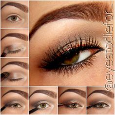 Bronze eyeliner eye makeup tutorial #evatornadoblog