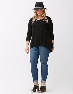 Casual in front, party in back, this high-low tee works all your angles with a pleated chiffon back. Super-soft Jersey and a kicked-back fit make it a seasonless favorite, with 3/4 sleeves and a flattering scoop neck. lanebryant.com