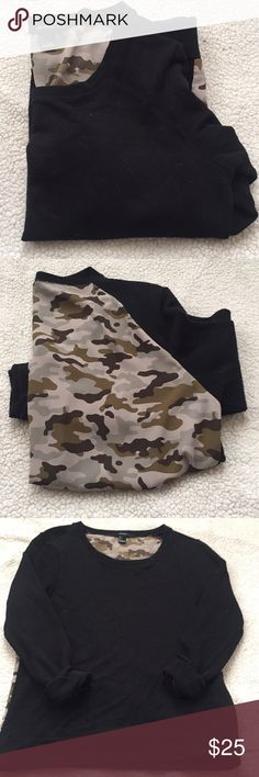 Forever21 camo sweater Camp on the back  Black on the front  Can be worn off the shoulder No rips or stains  Bought off here didn't know it was forever21 brand till I tried it on today ... not really my style unfortunately Forever 21 Tops Tees - Long Sleeve