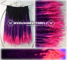"""Wool, Silk & Mohair Dreads - UV """"Princess"""" 50DE - 18""""- 21"""" (Total Length = 36""""- 42"""") #purplehair reads #VioletDreads #Purple #pinkhair #pinkdreads #Pink Dreadlocks"""