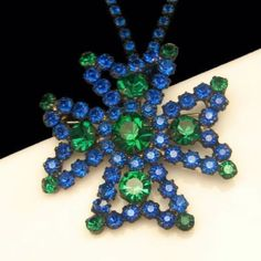 Vintage DeLizza and Elster Blue Green Rhinestone Large Maltese Cross Necklace Brooch - Looking for something blue? From www. myclassicjewelryshop.com $199.00