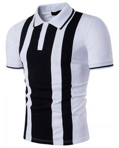 Black and white color block polo shirt for men 3905e74ea9fc