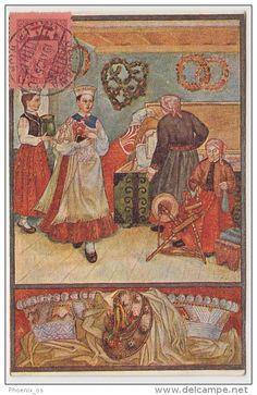 Latvian postcard - Nīca folk costumes, year 1925.