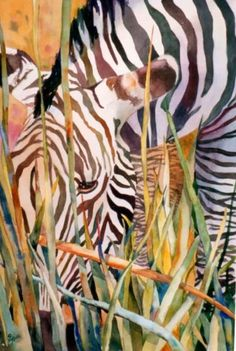 Zebra in the Grass, painting by artist Kay Smith
