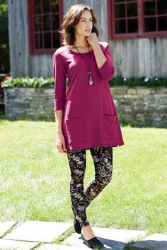 """$69.50 Peruvian Knit Tunic: The 250-gram, cotton interlock knit fabric offers all-day comfort, and it's slightly longer than typical tunics so it layers effortlessly over leggings or jeans. The flattering A-line silhouette features a scoop neck, two 7"""" patch pockets near the hem and two 5"""" side vents, as well as sleeve vents. 100% cotton. Machine washable. Made in Peru. 34"""" length."""