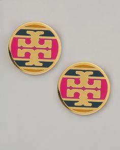 Tory BurchEnamel Striped Logo Earrings, Magenta