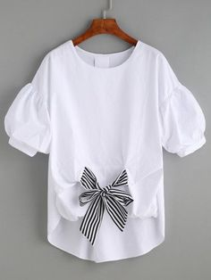 White Striped Tie Front Puff Sleeve Blouse - #blouse