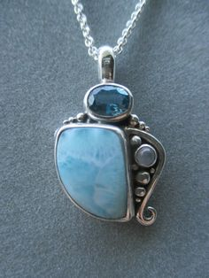 One of a Kind Sterling Silver Larimar Pendant by RichelleJewelry on Etsy