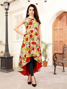 Beige And Multi Color Rayon Ready Made Kurti - Printed Kurti Designs, Simple Kurti Designs, Kurti Neck Designs, Dress Neck Designs, Kurta Designs Women, Kurti Designs Party Wear, Latest Kurti Designs, Blouse Designs, Frock Design
