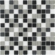 Elida Ceramica Modern Night Uniform Squares Mosaic Glass Wall Tile (Common: 12-in x 12-in; Actual: 11.75-in x 11.75-in)