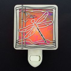 Personalize a unique dragonfly night light - stained glass color, silver/brass, light activated/manual by Kyle Design. of decorative night lights for adults & kids from cool to elegant. Decorative Night Lights, Home Look, Colored Glass, Stained Glass, Looks Great, Cool Stuff, Metal, Silver, Design