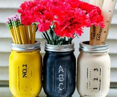 Use chalkboard paint to create erasable labels on mason jars. Fill with markers, pens, and other desk essentials.