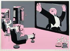 Pushwagner - En dag i familien Manns liv: nr 29 - II (Inrammet) Art Pop, Thesis, Norway, Scandinavian, Modern Art, Artists, Fine Art, Cartoon, 3d
