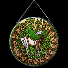 ✿ Tattoos ✿ Celtic ✿ Norse ✿  Celtic Stag Stained Glass Hanging