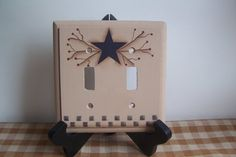 Primitive Switchplate Wood Star Pipberry Lightswitch Cover Handpainted Home Decor on Etsy, $12.00