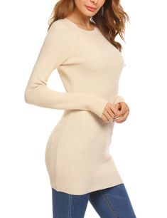 SoTeer Womens Long Sleeve Knitted Casual Pullovers Sweater Beige XL     Check out the image f657b0a13