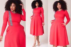 3c7c9c16d4f  PlusModelMag Plus Fashion Find  Thurman Dress in Orange Coral from Rue 107   PLUSmodelmag
