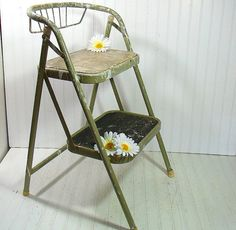 Vintage Sage Enamel Metal Folding Step Stool - Retro Avocado Green Heavy Duty…