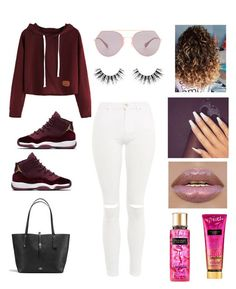 How to wear Jordan's outfit #3 by briyannaelainhoy on Polyvore featuring Topshop, Coach, Fendi, Velour Lashes and Victoria's Secret