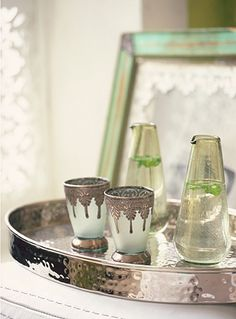 Delicate silver tipped Morrocan tea glasses/ silver tray/ water jugs