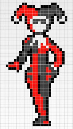 Harley Quinn pixel art template minecraft                                                                                                                                                     More