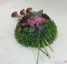 Stroik na gróbkompozycja nagrobna Kalisz Funeral Flower Arrangements, Funeral Flowers, Cemetery Decorations, Knitted Flowers, Leis, Ikebana, Floral Design, Projects, Plants