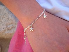 Personalized Flower Girl Gift Starfish Bracelet by ShinyLittleBlessings Flower Girl Jewelry, Flower Girl Gifts, Starfish Bracelet, Wedding Jewelry, Initials, Sterling Silver, Bracelets, Fashion, Moda