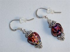 Paula Radke Dichroic Glass Earrings Rose and by EclecticDesigns, $38.00