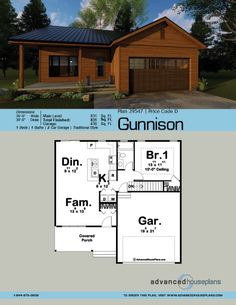 1 Story Traditional House Plan   Gunnison