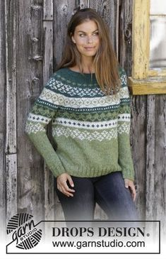 Knitted sweater with round yoke in DROPS Air. The piece is worked top down with Nordic pattern. Sizes S - XXXL. pullover 2018 Bardu / DROPS - Free knitting patterns by DROPS Design Knitting Patterns Free, Free Knitting, Crochet Patterns, Knitting Ideas, Crochet Ideas, Free Pattern, Crochet Cardigan, Knit Crochet, Free Crochet