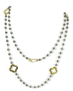 Hematite Beaded chain Clover charm 24k Gold Plated Necklace 3.5-4.5mm 18 Inch by UGCHONGKONG on Etsy