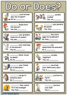 Do or does? Language: English Grade/level: Elementary School subject: English as a Second Language (ESL) Main content: Do or does Other contents: Short answers, questions, do does don't doesn't English Grammar For Kids, Learning English For Kids, English Phonics, Teaching English Grammar, English Lessons For Kids, English Worksheets For Kids, English Writing Skills, English Verbs, Kids English