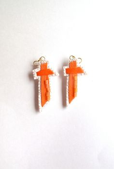 Cross earrings hand embroidered with bead by AnAstridEndeavor