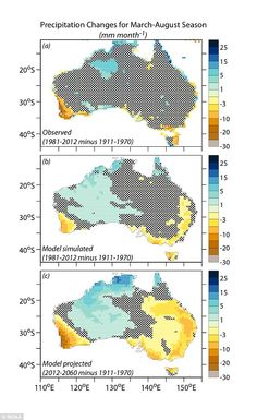 Simulating natural and man made climate drivers, scientists showed that the decline in rainfall is largely a response to man-made increases ...
