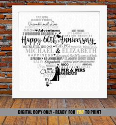 Are you looking for the perfect Diamond Wedding Anniversary gift for a lovely couple? Then choose from this lovely ready to print personalized digital copy. Show how much you care by choosing this bespoke digital copy and have it crafted with some of the most beautiful words and meanings chosen by you.    ♥♥♥♥♥♥♥♥ Advantages of choosing a DIGITAL COPY ♥♥♥♥♥♥♥♥  ► This is Ideal if you need a last minute gift or can't wait for it to be delivered by post.  ► Print at home or at your local…