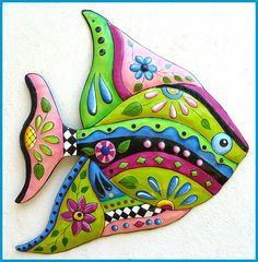 """Tropical Fish Metal Wall Hanging - Hand Painted Metal Tropical Decor - Garden Decor - Metal Wall Art - 25"""""""
