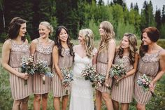 Gorgeous bridesmaid dresses and bride wearing Kristine by Claire Pettibone from The Dress Theory.