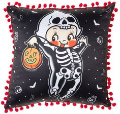 Snuggle up with this adorable skeleton-costumed kewpie pillow! Featuring original artwork by tattoo artist Stacey Martin Smith, this cutie is printed on the satiny side, while the back is a solid, mat
