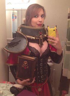 Lara Lunardifinishing up her Adepta Sororitas costume NSFW...