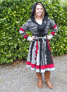 Recycled Sweater Coat Queen of Hearts by ThankfulRose on Etsy, $225.00
