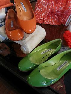 Manolo Blahnik 6.5 Patent Leather Flats Shoes Orange & Lime Green 2 pc Lot 36.5 Both pairs!! $199