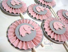 Rosa y gris elefante Cupcake Toppers - elefante bebé ducha decoraciones rosa Chevron y gris 1er cumpleaños... Juego de 12
