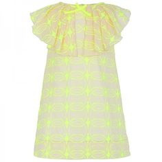 La Stupenderia Neon Yellow Embroidered Dress at alexandalexa.com